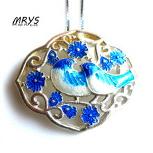 New font b Blue b font Magpie Ethnic Cloisonne Enamel 925 sterling Silver Chain Necklace Pendant