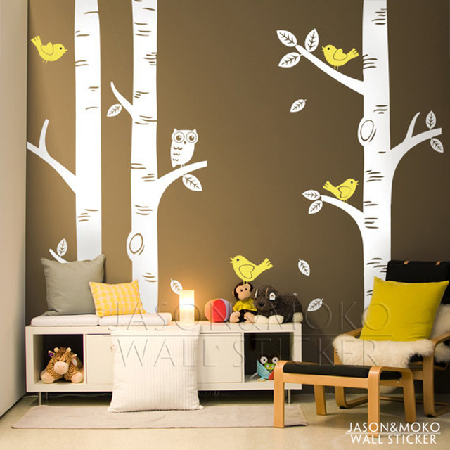 cute owl birds birch tree wall sticker decal wallpaper mural kids forest home bedroom living room