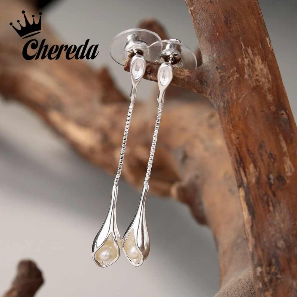 Chereda long Dangler earrings fashion jewelry for Women    pearl Jewelry Double Drop earrings gifts