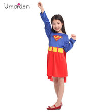 Umorden Purim Carnival Party Halloween Costumes Child Supergirl Superman Cosplay Kids Super Man Costume Girls Fancy Dress
