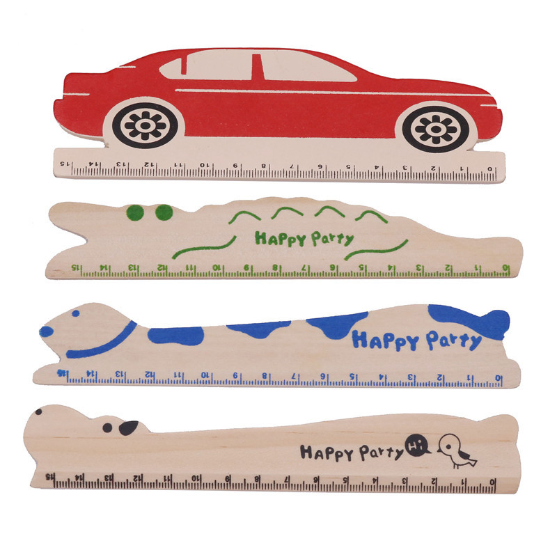 15cm Student Stationery Ruler Wooden Texture Creative Cute Office Stationery Hippo Crocodile Giraffe Dog Red Car Modeling Rulers