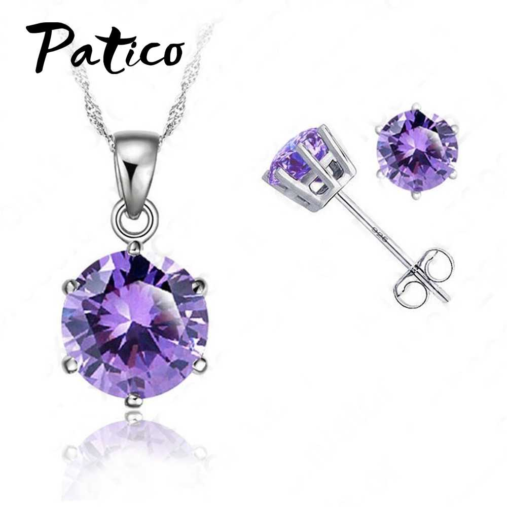 "New Elegant 8 Colors Cubic Zirconia 925 Sterling Silver Jewelry Sets 6 Claws Stud Earring Pendant Necklace 18""  Chain"