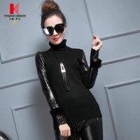 Кожаные куртки для Для женщин с длинным рукавом черная блузка мотоциклетные кружевной бомбер Костюмы милые Классические Осенние короткие