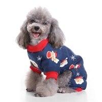 Santa de la navidad Térmica Pijamas Para Perros Pet Clothse Fleece Coat Mono Azul