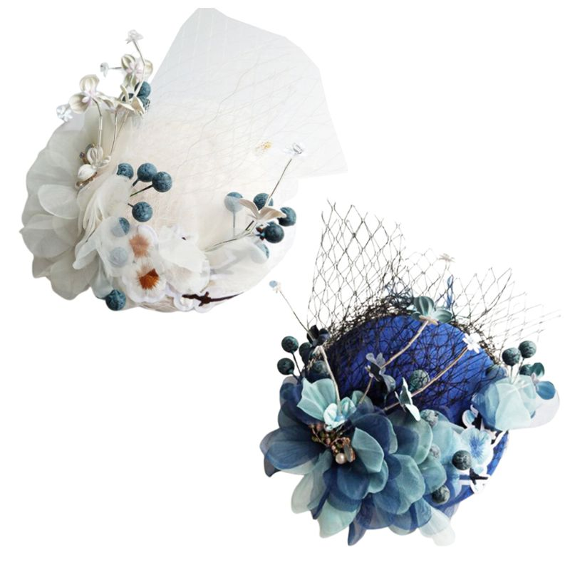 Korean Handmade Wedding Bridal Fascinators Pillbox Hat Vintage Mesh Artificial Blue Beige Flower Duckbill Hair  Photo Props