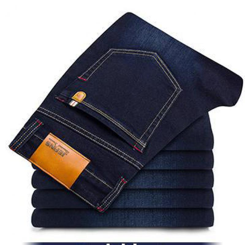 2019 Big Size 28-46 Man Jeans High Stretch Straight Long Slim Trousers Fashion Casual Black Blue Denim Male Business Jeanswear