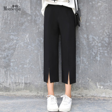 Spring autumn elastic High Waist Wide Leg Pants Loose capris Slim Casual Ankle-length Pant Black monbeeph OL work Trousers