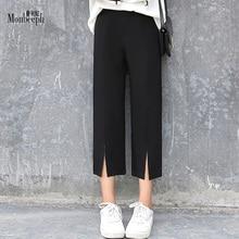 Spring autumn elastic High Waist Wide Leg Pants Loose capris Slim Casual Ankle-length Pant Black monbeeph OL work Trousers