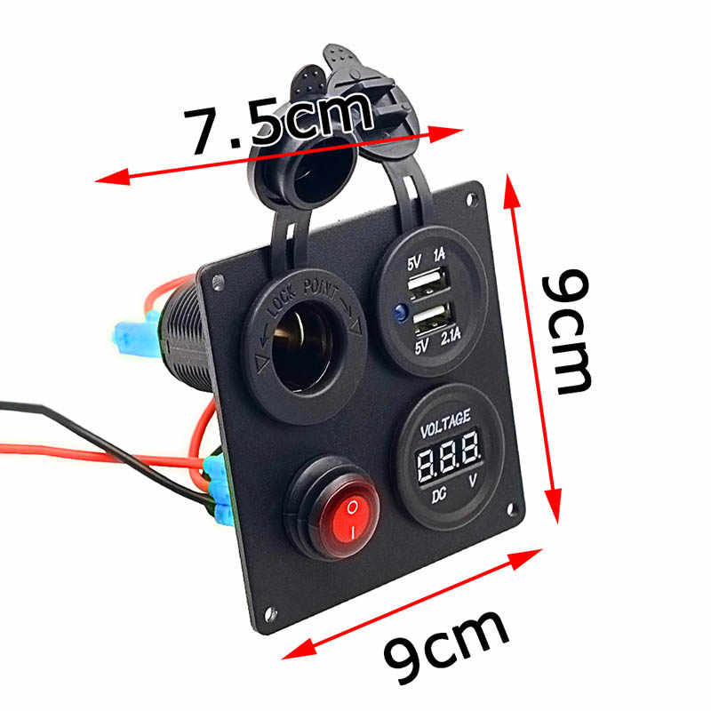 Square Aluminum Plate Independent Switch Socket USB Voltmeter Combination Panel for Car Ship  NJ88