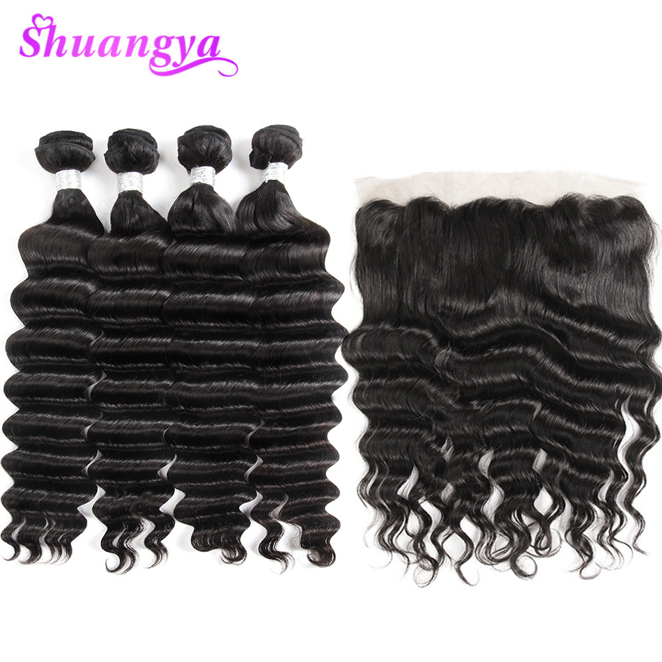 Malaysian Remy Hair Weave Bundles & Frontal More Wave Loose Deep Lace Frontal Closure With Bundles 3/4 Bundles With Frontal