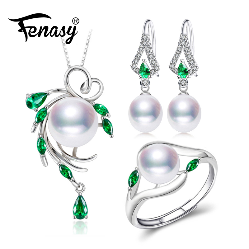 FENASY Jewelry-Sets Necklaces Engagement-Ring-Set Drop-Earrings Emerald Natural Pearl