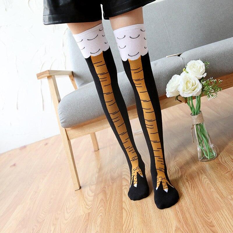 2018 Funny Knee-High Creative New Women Thigh High Chicken Socks Long Chicken Paw Print Toe Women Fashion 3D Cartoon Knee Socks