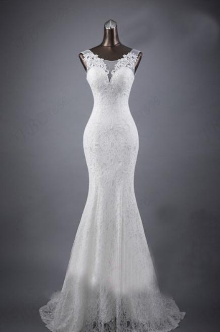 BANVASAC 2017 Nya Mermaid Eleganta Blommor O Hals - Bröllopsklänningar - Foto 3