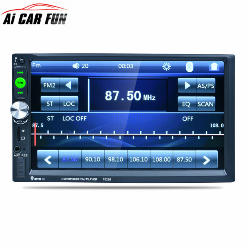 7023B 7 Inch Car 2DIN Touch Screen Auto Radio Video Audio MP4 MP5 Player 1080P HD TFT Bluetooth FM/USB/AUX + Rear View Camera 7 hd bluetooth touch screen car gps stereo radio 2 din fm mp5 mp3 usb aux z825