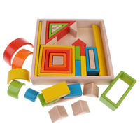 Wooden Rainbow Stacking Blocks (6 Colors & 4 Shapes) Educational Toys for Kids Toddler