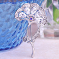 Very Nicely Brand Flowers Hijab Pins Shiny White CZ Diamond Gold Brooches for Wedding Classic Trendy Bridal Broches Bijuterias