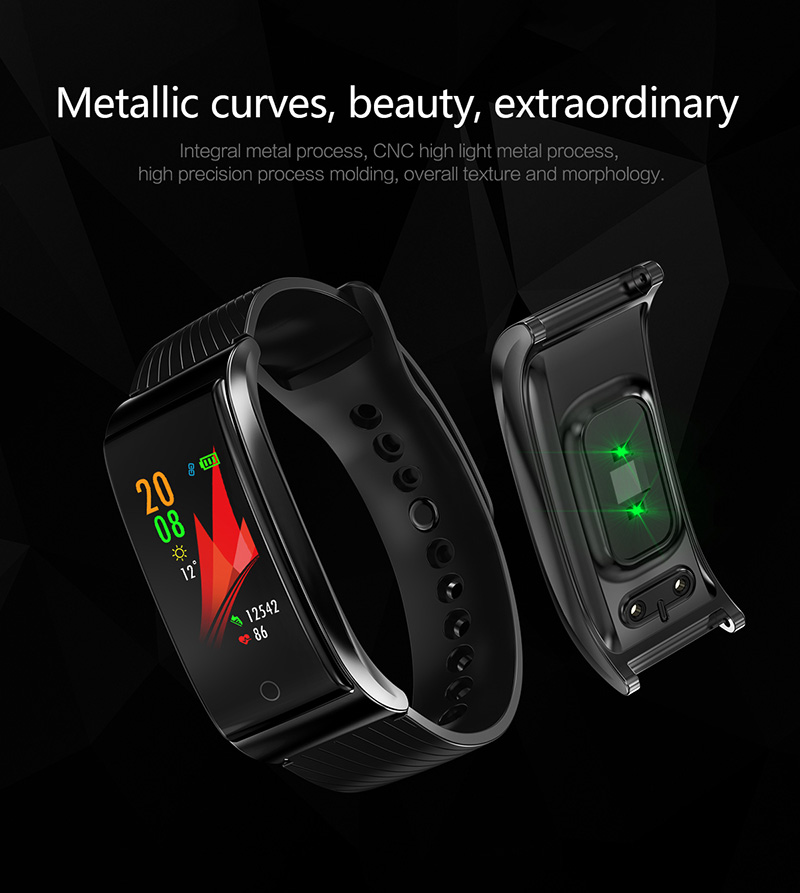 Foto of metallic curves Smart waterproof watch with pedometer. Smart waterproof watch with heart rate monitor