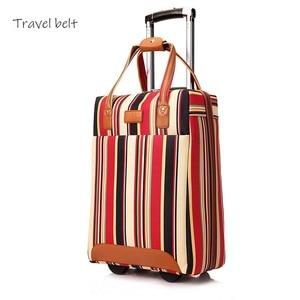 Image 2 - Cinto de viagem 20 polegada oxford rolando conjunto bagagem girador marca feminina mala rodas listra carry on sacos viagem
