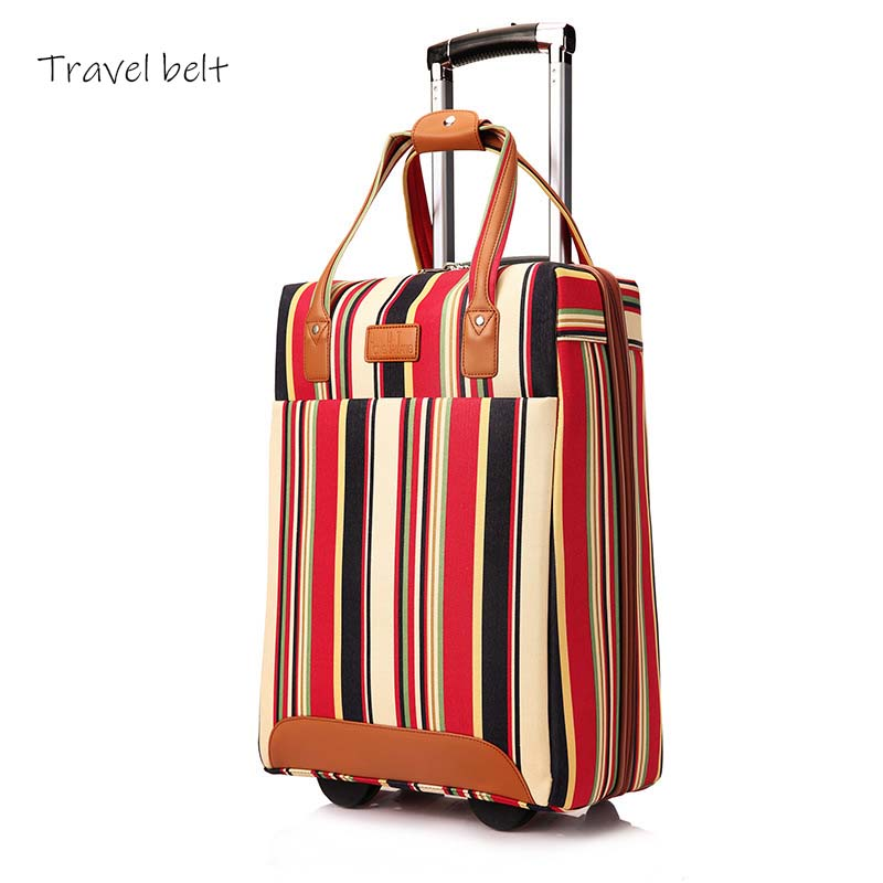 Image 2 - Travel Belt 20 inch oxford Rolling Luggage set Spinner Women Brand Suitcase Wheels stripe Carry On Travel Bags-in Rolling Luggage from Luggage & Bags