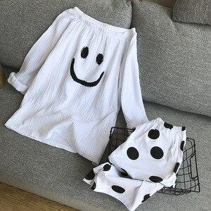 Image 2 - Neue Pyjamas frauen 100% Baumwolle Koreanische Lose Langarm Hosen Dünne Beiläufige Minimalistischen Zwei stück Pyjamas Frauen Pijama hause Anzug