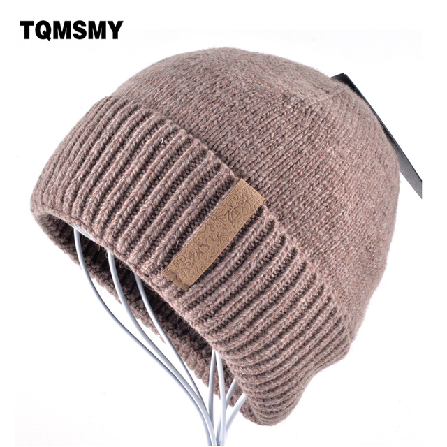 39b9df53 Winter Beanies Solid Color Hat men Knitted Warm Soft Beanie Double layer  plus thick velvet Cap bonnet Gorro Caps For Men Women