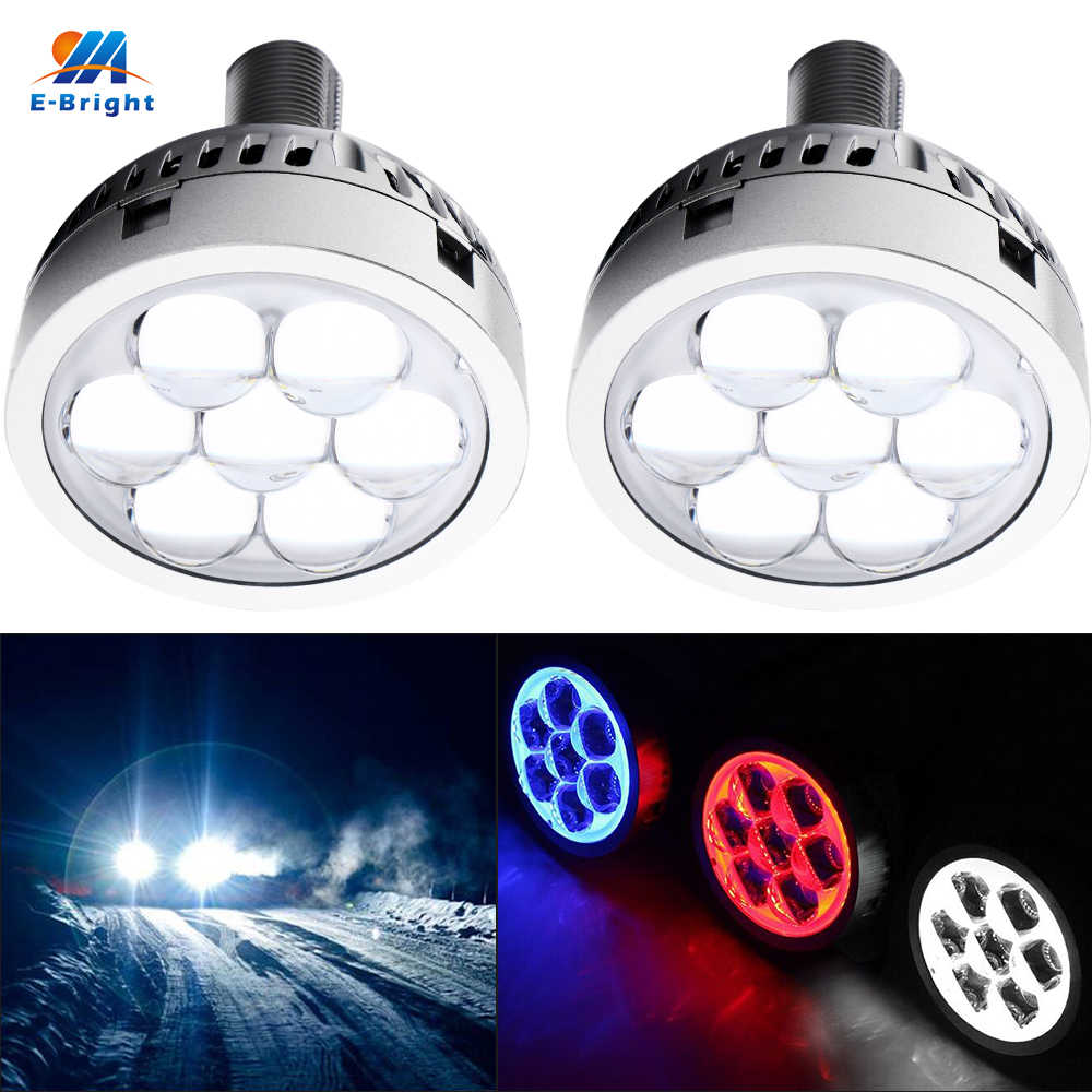 YM E-Bright 2PCS/Set 3 INCH LED Headlight High Beam Lens White 21W Devil Demon Eyes White Blue Red Car Led Lights 12V H1 H4 H7