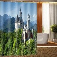 MYRU 3D druku wodoodporna zamek zasłony prysznicowe produkty łazienkowe wystrój łazienki z hakami w Zasłony prysznicowe od Dom i ogród na