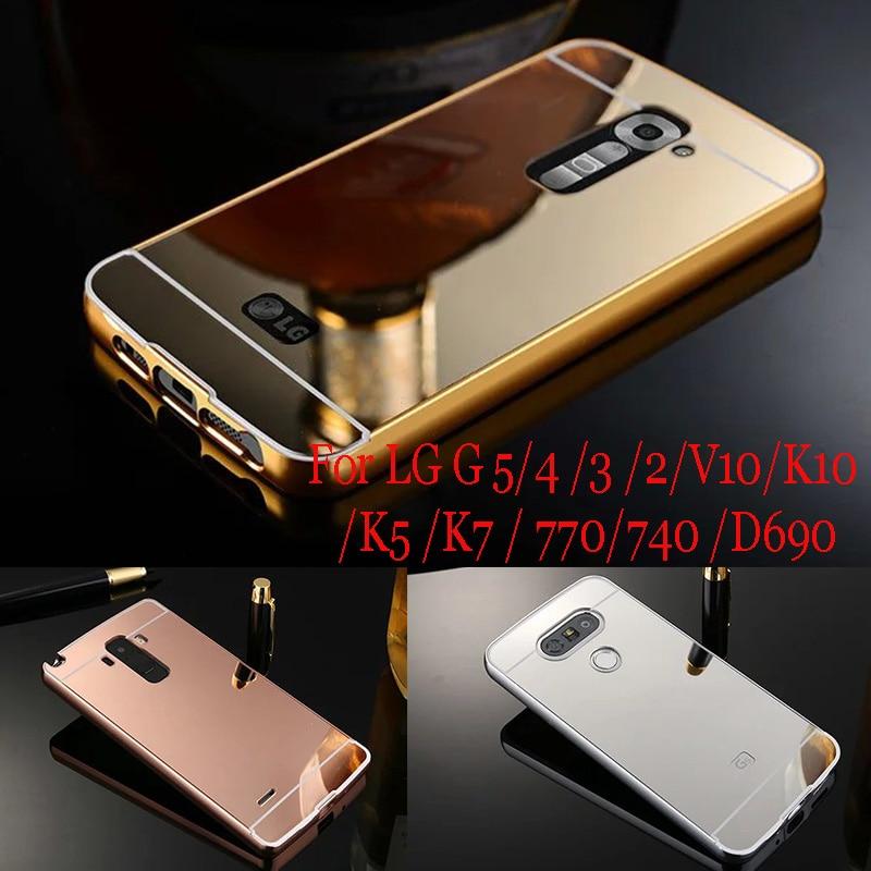 Case For LG G5 Luxury Gold Plating Metal Frame Acrylic Mirror Back case For LG G2 3 4 5 V10 K10 For LG K5 K7 K10/D690/740/LS770