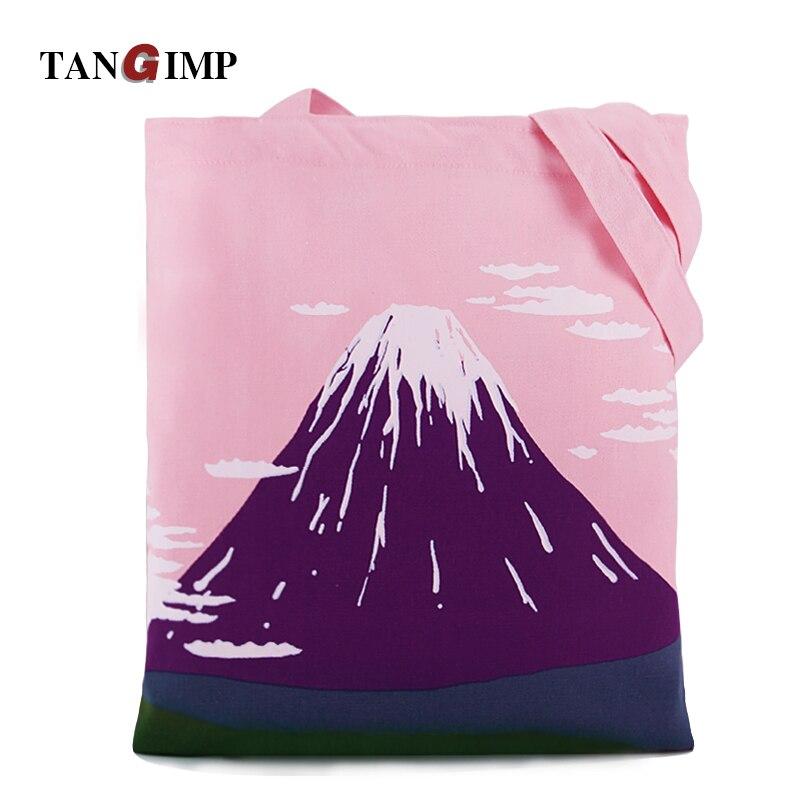 TANGIMP Pink Fujiyama Canvas Beach Bags 2017 Cute Scenery Eco Shoulder Shopping Totes bolsa compra Women Handbags School Bookbag