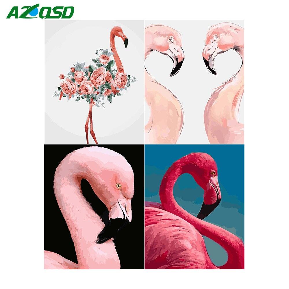 AZQSD Tier Öl malen Nach Zahlen Leinwand Malerei Vogel Flamingo Färbung durch Zahlen Poster und Drucke Unfinished DIY Hobby