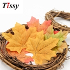 50PCS 7.6cm Multi Artifical Maple Leaves Fake Autumn Fall Leaf DIY Art Scrapbooking Wedding Party Decoration Home Wall Decor