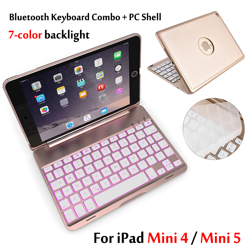 Case For iPad Mini 5 Mini5 2019 7 Colors Backlit Light Wireless Bluetooth Keyboard Case Cover