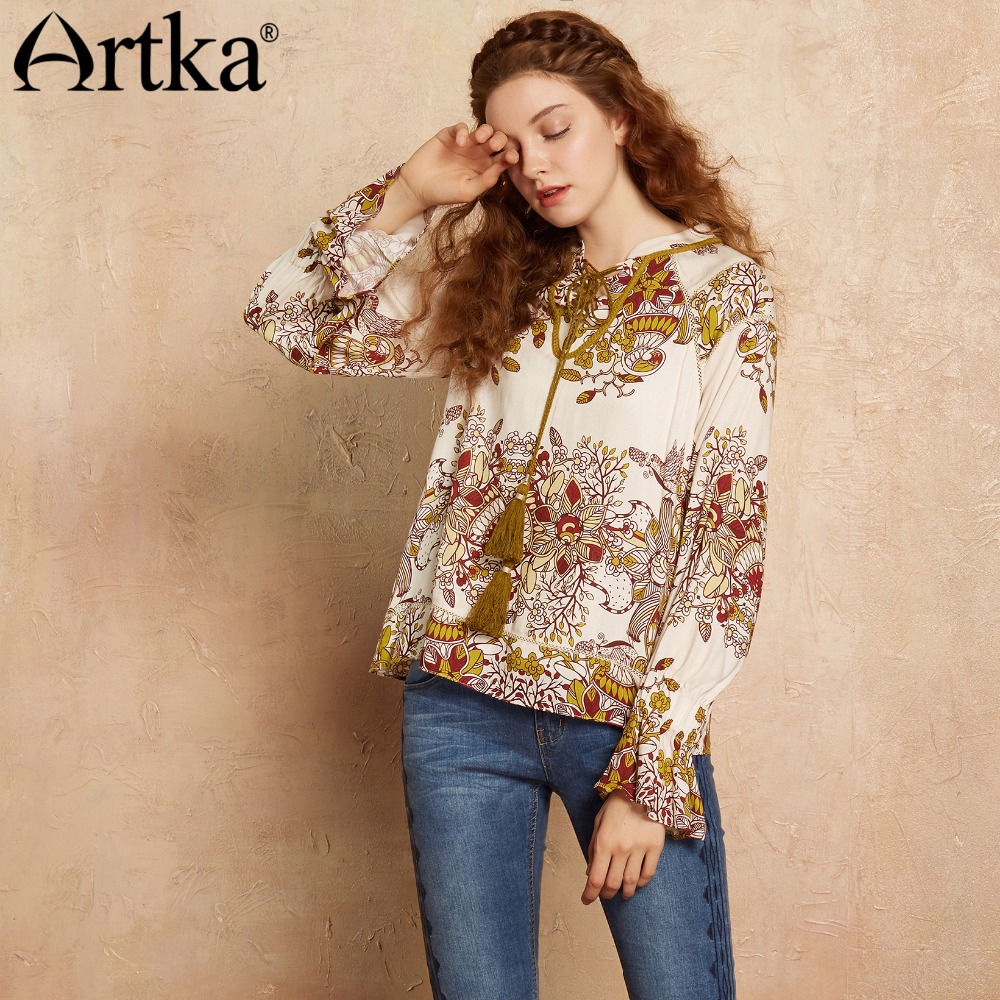 4b848ee5f0 ARTKA Summer Blouse Women Long Sleeve Shirt 2018 Ethic Print Blouse Female  Lantern Sleeve Shirt Vintage Women Tops SA10072Q-in Blouses   Shirts from  Women s ...