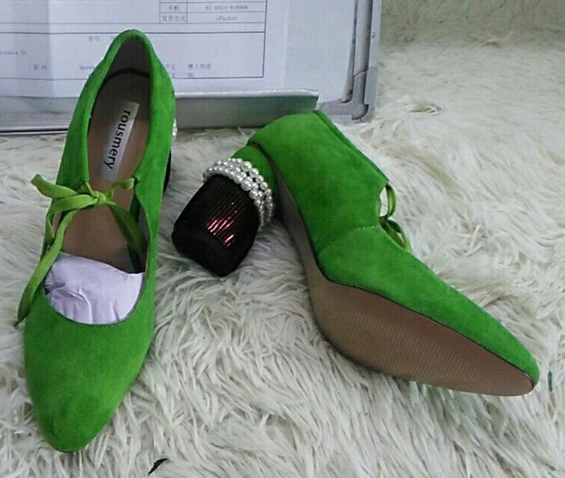 Cordes Perle Green Chaussures Nouveau Janes Pompes Suede Lacets Haut À Épais Printemps Talon black Mary Cou Femmes Assemblé Décor Baril Perles Exposés qttwFXTxrR