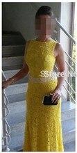 Gelb abendkleider 2015 neue mode A-linie o-ansatz perlen spitze abendkleid zum party kleider vestidos de festa vestido longo
