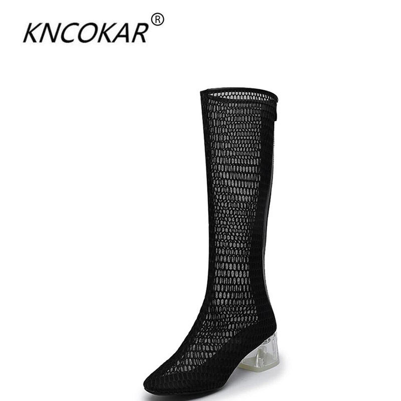 KNCOKAR 2018 New style cool boots female summer black hollow-out net boots crystal and fashionable baotou cool boots new fashion boots summer cool