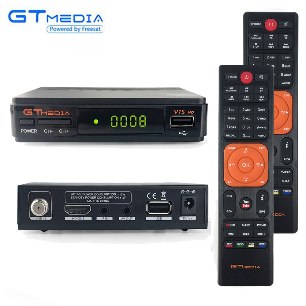 Récepteur Satellite numérique GtMedia V7s décodeur HD DVB-S2 V7 + convertisseur de ligne de Tuner TV télécommandé supplémentaire Youtube Biss VU