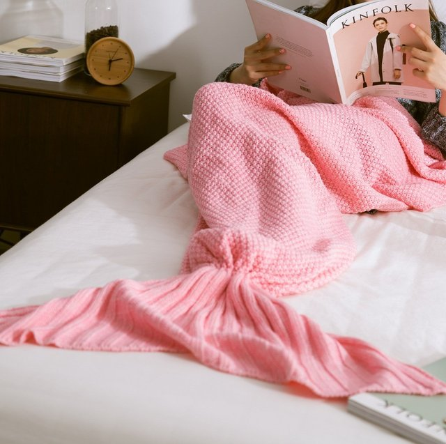 Mermaid Tail Blanket Crochet Mermaid Blanket Knitted Blanket Super Soft Sleeping  Bag Mermaid Throw Blankets 1PCS Lot fdf481aa0