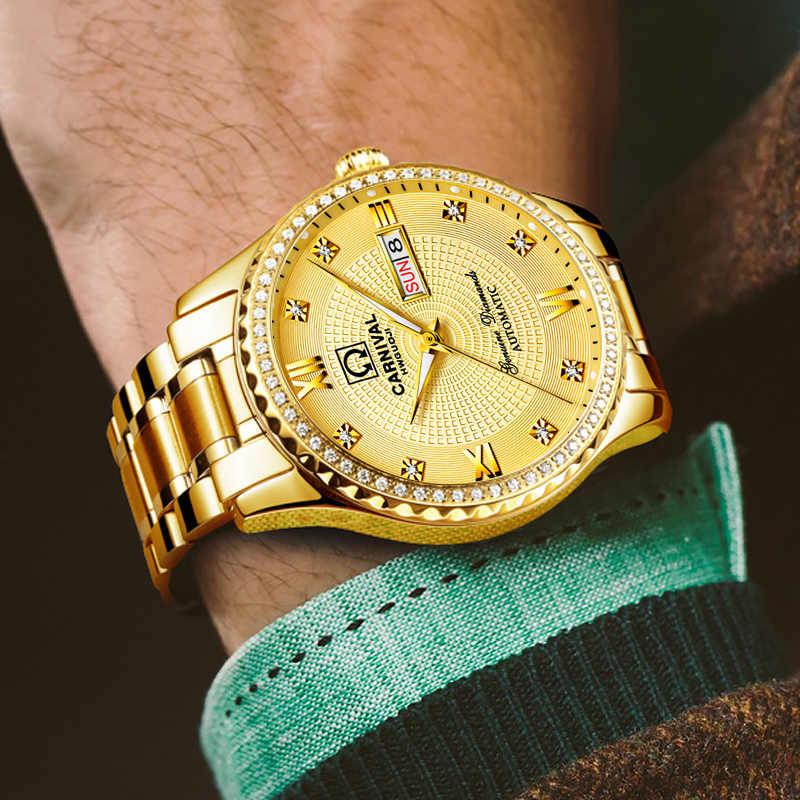 機械式時計男性レロジオ masculino dourado モードオム relog erkek saat ゴールド mab 腕時計発光週日付機械式時計