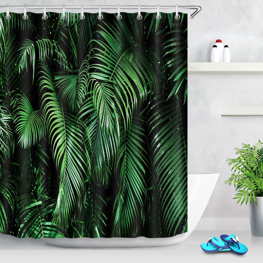 dark tropical green jungle palm leaves