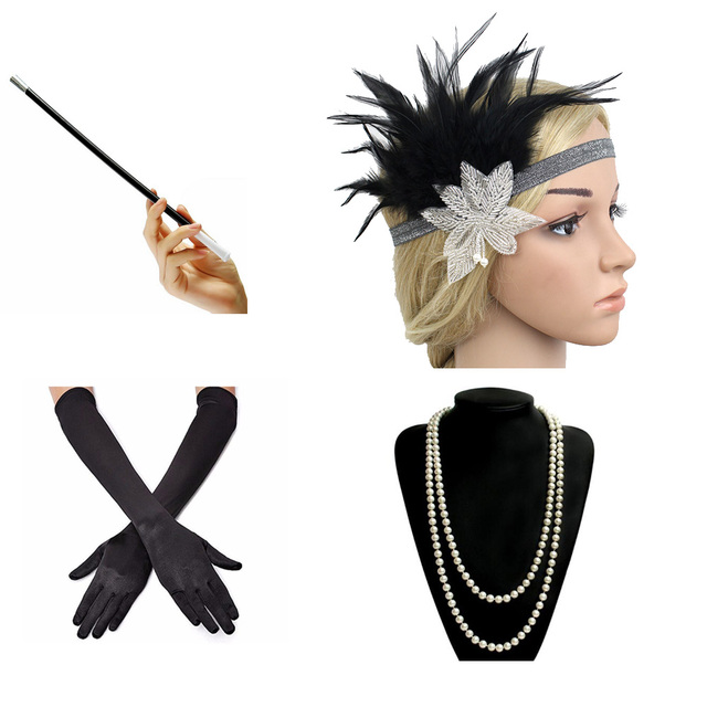 1920s Great Gatsby Party Costume Accessories Set Fancy Flapper Girl Feather Headband Pearl Necklace Glove Cigarette Holder 4 Pcs