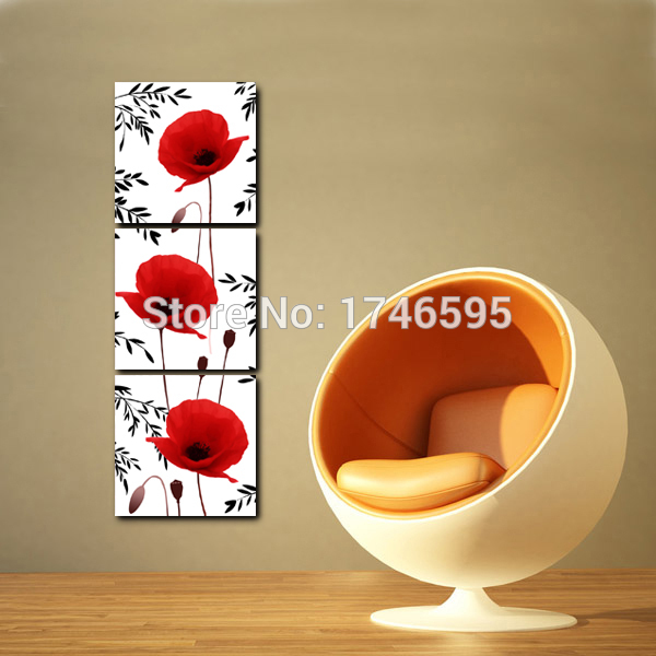 Big 3pc home wall decor red corn poppy flower Wall Art picture for ...