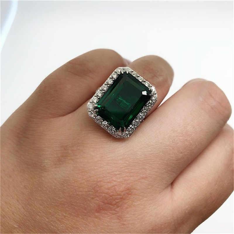 Потрясающее круглое супер большое зеленое кольцо из фианита с камнем коктейльное большое хрустальное кольцо женские ювелирные изделия