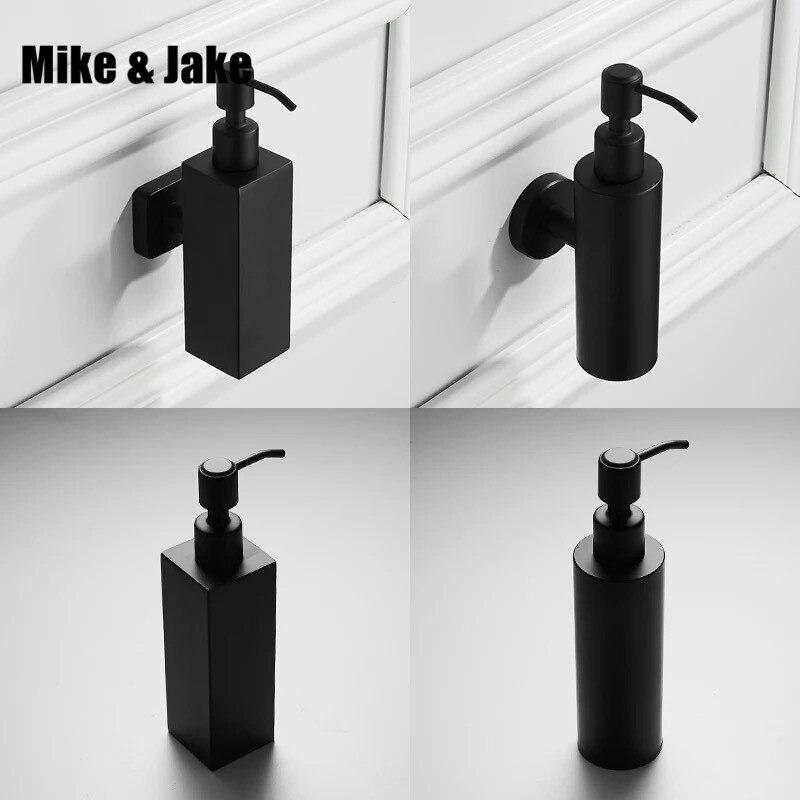 Mur noir distributeur de savon en acier inoxydable 304 boîte à savon 304 gel douche et shampooing revitalisant distributeur étagère de salle de bain
