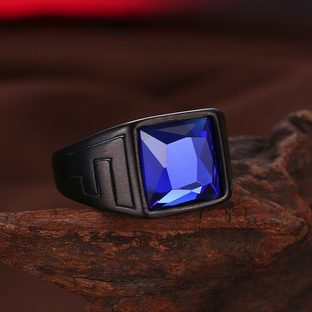 Vintage 316L Stainless Steel Pattern Black Gold Color Band Blue Square Glass Wedding Rings For Men Male Party Ring