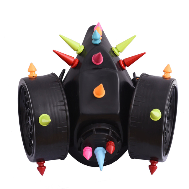 Steampunk Dazzling Multi color Spikes Gas Mask Respirator Rivet Masks Punk Gothic Cosplay Mask Accessories Halloween
