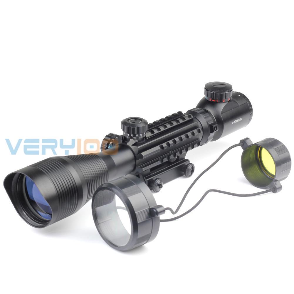 VERY100  Riflescope 4-12X50EG Mil Dot Hunting Rifle Scope Illuminated Recticle Green&Red Cross Mounting 4-12x50 hunting riflescope combo c4 12x50eg rifle scope