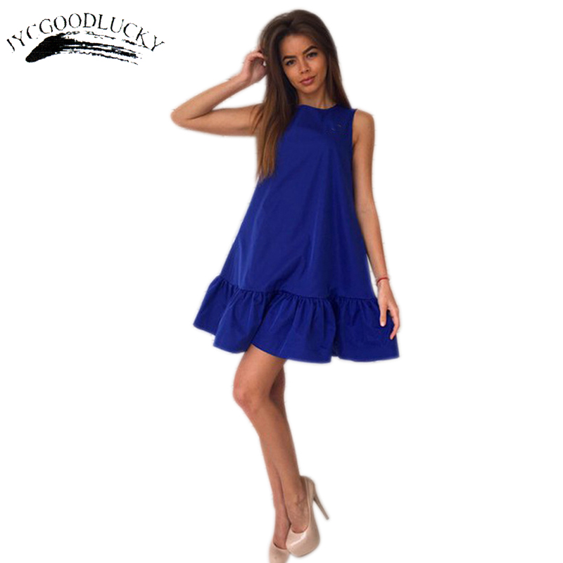 US $9.86 50% OFF|Sleeveless Fashion Ruffles Cute Summer Dress Plus Size  Elegant Women Dresses Party Mini Fashion Dress Plus Size Women Clothing-in  ...