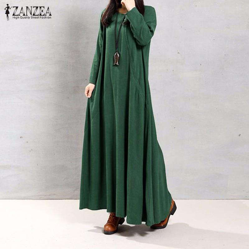 ZANZEA sievietes kleita rudens 2018 dāmas O kakla garām piedurknēm kabatas ikdienas cieta kokvilnas garas Maxi puse kleitas Vintage Vestidos