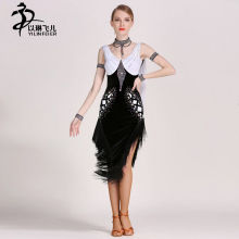 Women salsa dance dresses Tassel drilling decoration tango latin dance costumes latin dance competetion dress for girls